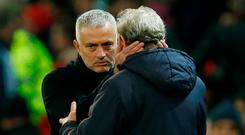 Manchester United manager Jose Mourinho and Crystal Palace manager Roy Hodgson after the match