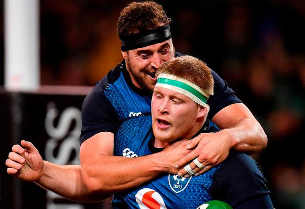 John Ryan of Ireland is congratulated by team-mate Rob Herring after scoring his side's eighth try during the Guinness Series International match between Ireland and USA at the Aviva Stadium in Dublin. Photo by Seb Daly/Sportsfile