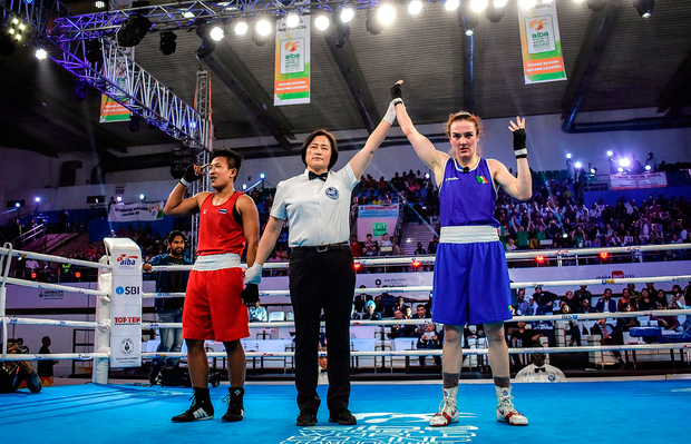 GOLDEN MOMENT: Kellie Harrington has her hand raised in victory after her bout with Sudaporn Seesondee at the AIBA Women's World Championships. Picture: Sportsfile