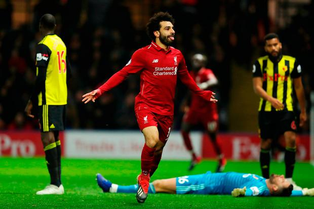 Mo Salah of Liverpool celebrates scoring Liverpool's first. Photo: Getty
