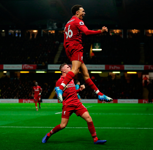 Trent Alexander-Arnold of Liverpool celebrates after scoring his team's second goal. Photo: Richard Heathcote/Getty Images