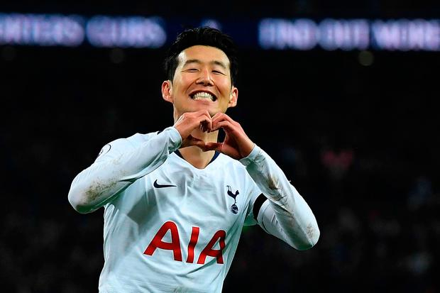 Heung-Min Son of Tottenham Hotspur celebrates after scoring his team's third goal. Photo: David Ramos/Getty Images
