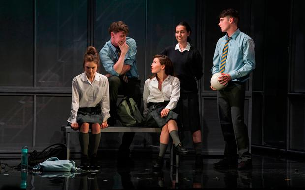 DEVASTATING: From left, Venetia Bowe as Zoe, Darragh Shannon as Dylan, Lauren Coe as Emma, Sile Maguire as Ali and Sean Doyle as Sean in the new stage version of 'Asking For It'