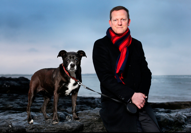 BATTLE: Alan Farrell TD combats his sleeplessness by walking his dog Holly around Malahide. Photo: Steve Humphreys