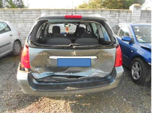 One of the vehicles involved in the staged accident for which a 42-year-old woman was convicted of fraud