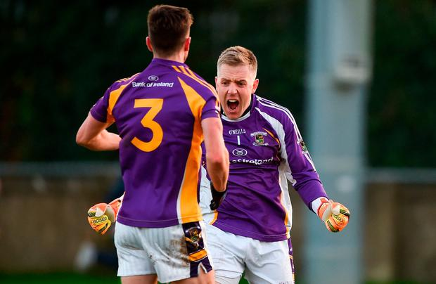 Andrew McGowan, left, and David Nestor of Kilmacud Crokes celebrate after the AIB Leinster GAA Football Senior Club Championship semi-final match between Kilmacud Crokes and Portlaoise at Parnell Park in Dublin. Photo by Daire Brennan/Sportsfile