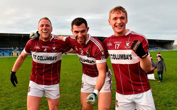 Mullinalaghta St Columba's players from left Conor Brady, Simon Cadam and Luke Meehan after the AIB Leinster GAA Football Senior Club Championship semi-final match between Mullinalaghta St. Columba's and Eire Og at Glennon Brothers Pearse Park in Longford. Photo by Matt Browne/Sportsfile