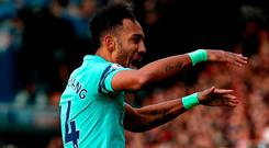 Arsenal's Pierre-Emerick Aubameyang celebrates scoring his side's first goal of the game during the Premier League match at The Vitality Stadium, Bournemouth.