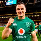 Jonathan Sexton of Ireland celebrates following the Guinness Series International match between Ireland and New Zealand at the Aviva Stadium in Dublin. Photo by David Fitzgerald/Sportsfile