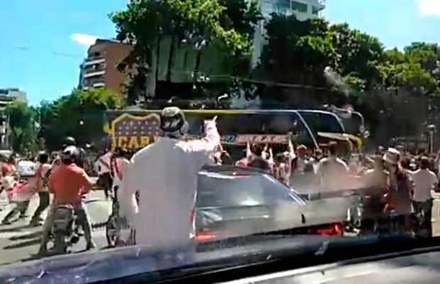 A Boca Juniors bus is attacked by opposition fans in Buenos Aires Argentina in this still image taken from a video obtained from social media. JUAN LENTINO  via REUTERS