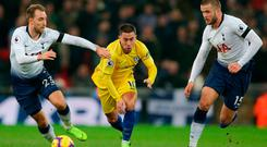 Eden Hazard is challenged by Christian Eriksen and Eric Dier on a frustrating night at Wembley for the Chelsea talisman. Photo: AFP/Getty Images