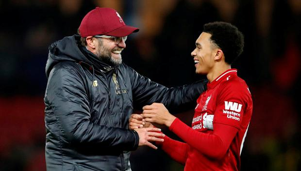 Liverpool manager Jurgen Klopp congratulates goalscorer Trent Alexander-Arnold after the match. Photo: Action Images via Reuters