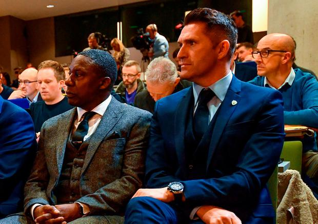 Newly appointed Republic of Ireland assistant coaches Terry Connor, left, and Robbie Keane watch on during a press conference at the Aviva Stadium. Photo: Stephen McCarthy/Sportsfile
