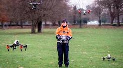 Flying: Civil Defence volunteers are offering their drones and their skills to assist gardaí. Picture: Peter Rossiter