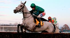 Bristol De Mai, with Daryl Jacob up, sails over a fence up the home straight on the way to victory in Saturday's Betfair Chase at Haydock. Photo credit: Clint Hughes/PA Wire