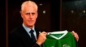 Newly appointed Republic of Ireland manager Mick McCarthy poses for a portrait in the dressing-room at the Aviva Stadium. Photo: Stephen McCarthy/Sportsfile