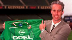 Back to the future: Mick McCarthy at Lansdowne Road in February 1996 when he was unveiled as Ireland manager for the first time. Photo: David Maher/SPORTSFILE