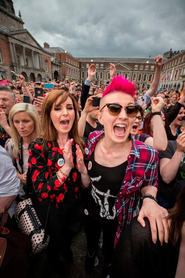 Forward thinking: Celebrations in Dublin Castle after the same-sex marriage referendum in 2015. Photo: Mark Condren