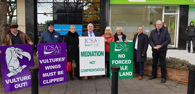 ICSA demonstrate at the offices of BidX1in Dublin today.