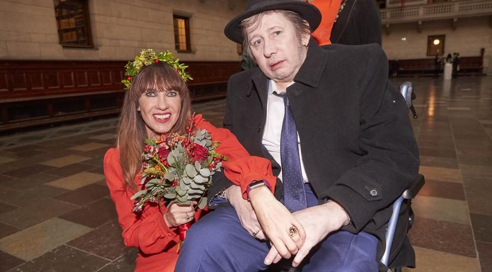 EXCLUSIVE:Pogues singer Shane McGowan gets marries to Victoria Mary Clarke at Copenhagen City Hall. Johnny Depp was one of the guest at the wedding in Denmark on 26th Nov 2018 | Photo credit: Aller/MEGA TheMegaAgency.com | Photo via Mega Agency