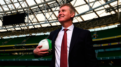 Stephen Kenny looks around the Aviva Stadium at his unveiling as Ireland's under 21 manager. Photo by Stephen McCarthy/Sportsfile