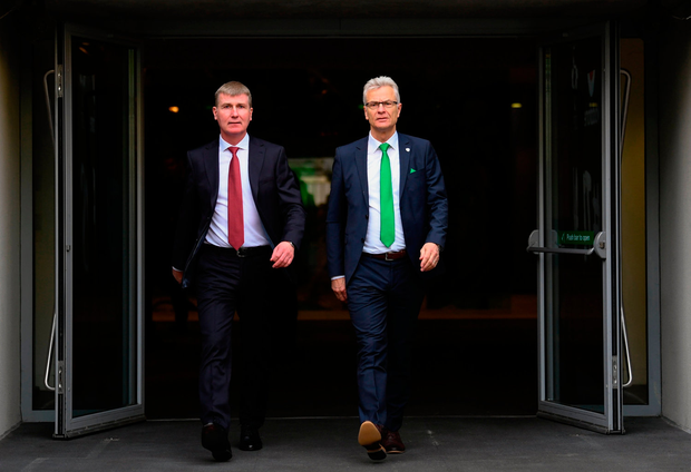 In Step: Stephen Kenny and Ruud Dokter emerge from the tunnel at the Aviva Stadium yesterday. Photo by Stephen McCarthy/Sportsfile
