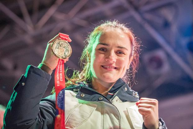 Kellie Harrington at a civic reception on Sean McDermot Street after winning gold for Ireland at the AIBA World Women's Elite Championships in New Delhi, India. Photo: Arthur Carron
