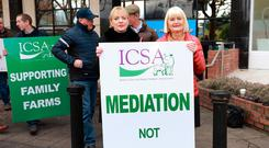 Sell offs: MEPs Liadh Ní Riada and Marion Harkin pictured during the ICSA protest outside the offices of BidX1 on Waterloo Road, Dublin. Photo: Frank McGrath