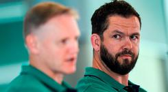 A man for all seasons: Ireland head coach in waiting Andy Farrell alongside Joe Schmidt. Photo: Ramsey Cardy/Sportsfile