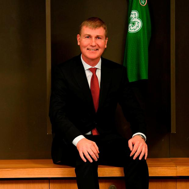 Stephen's Day: New Republic of Ireland U-21 manager and the next senior team boss Stephen Kenny has plenty to smile about at the Aviva Stadium yesterday. Photo: Stephen McCarthy/Sportsfile