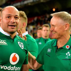 Ireland coach Joe Schmidt, with captain Rory Best in South Africa in 2016. Photo: Brendan Moran/Sportsfile