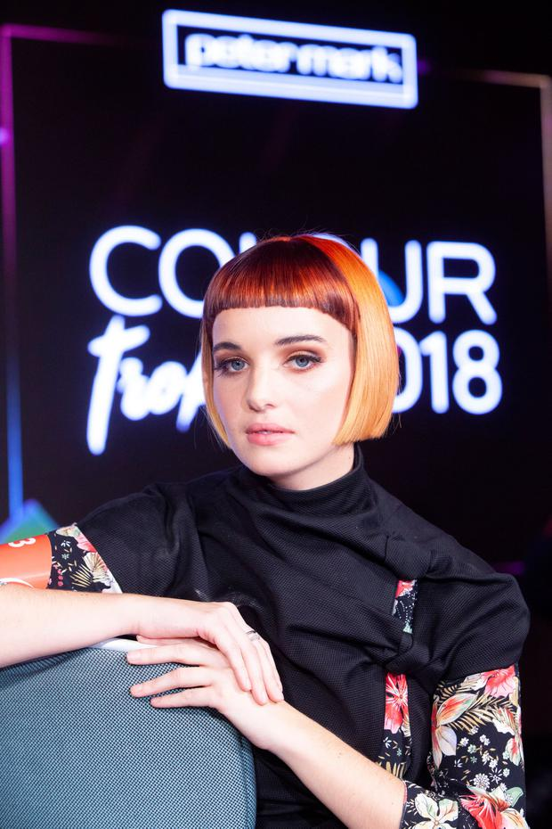 Model Kate Doherty, in hair styled by Sarah Gallagher; and stylist, Krystal Murphy from Peter Mark, William Street, Limerick, at the 2018 Peter Mark Colour Trophy. Picture: John Ohle Photography