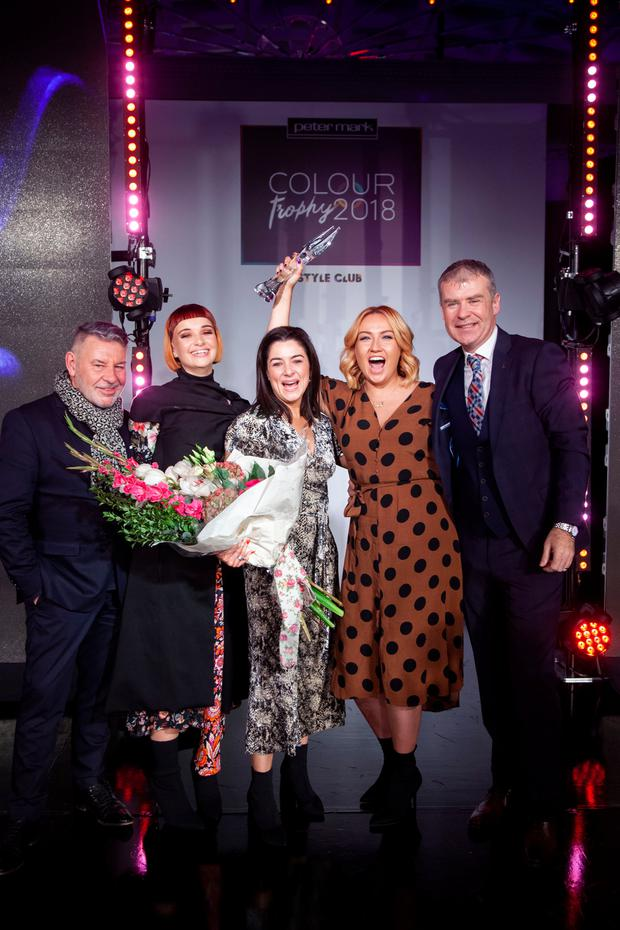(Group 3) Michael Doyle celebrates with Krystal Murphy, Sarah Gallagher plus model Kate Doherty and Peter Mark CEO, Peter O'Rourke are pictured at the Peter Mark Colour Trophy Awards 2018