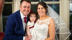Trevor Gilligan pictured with wife Elaine and daughter Chloe