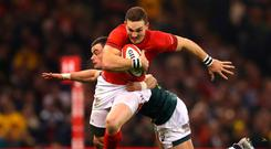 George North on the charge against South Wales last weekend as Wales showed a winning edge to complete a clean sweep of their autumn internationals. Photo: Warren Little/Getty Images