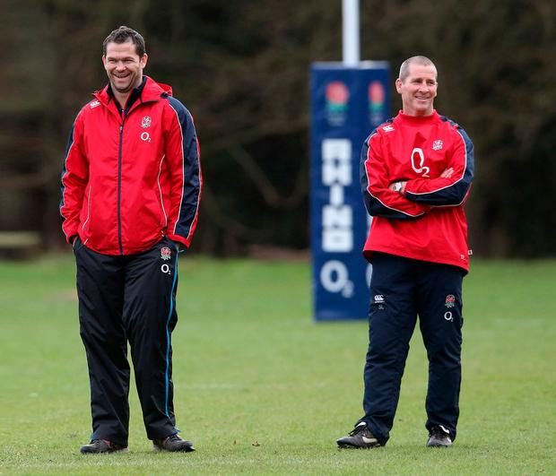Stuart Lancaster with Andy Farrell when the duo coached England in 2013. Photo: David Rogers/Getty Images