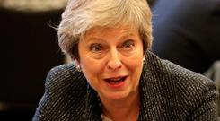 Call for support: UK Prime Minister Theresa May at Queen's University Belfast yesterday. Picture: Reuters