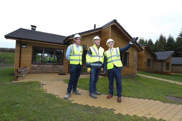 Rapid-build homes: Sisk's Cormac Fitzpatrick, Center Parcs director Paul Kent and FastHouse director Sean Fox. Photo: Conor McCabe Photography