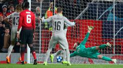David De Gea makes a stunning save to prevent Young Boys from taking the lead at Old Trafford last night. Photo: John Peters/Man Utd via Getty Images