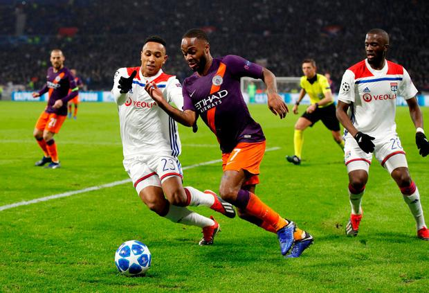 Lyon's Kenny Tete in action with Manchester City's Raheem Sterling. Photo: John Sibling/Action Images via Reuters