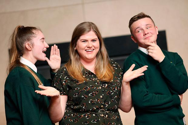 Students Natasha Gregg (left) and Krystian Kilarski (right) of Ringsend College, Dublin with teacher Ciara Moran, taking part in the conversations about senior cycle at a recent NCCA seminar. Photo: JULIEN BEHAL PHOTOGRAPHY