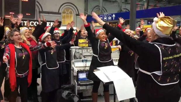 Corus choir from Dublin got into the Christmas spirit in aid of homelessness yesterday at Heuston Station, Dublin.