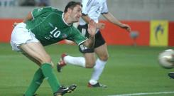 Robbie Keane scores his famous goal against Germany at the 2002 World Cup