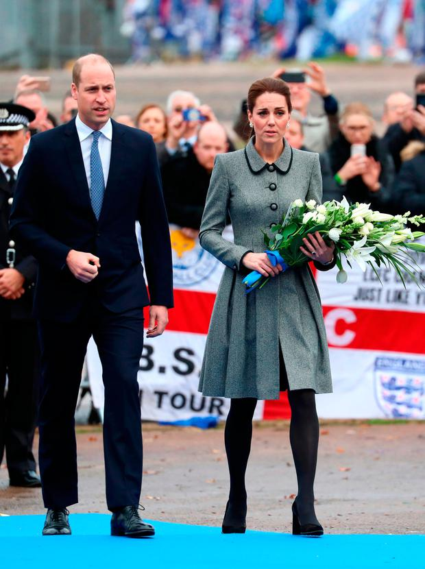 Prince William, Duke of Cambridge and Catherine, Duchess of Cambridge Cambridge pay tribute to those who were tragically killed in the helicopter crash on Saturday 27th October at Leicester City Football Clubs King Power Stadium on November 28, 2018 in Leicester, United Kingdom. (Photo by Neil P. Mockford/Getty Images)