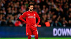 Liverpool's Mohamed Salah stands dejected during the UEFA Champions League, Group C match at the Parc des Princes, Paris. PRESS ASSOCIATION Photo. Picture date: Wednesday November 28, 2018. See PA story SOCCER PSG. Photo credit should read: Mike Egerton/PA Wire.