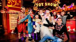 Ryan Tubridy on the set of the Late Late Toy Show with Tattoo Man Dylan O'Connor (11) from Dublin, Napoleon Luke O'Connor (7) from Dublin, 3 Legged Man Kayla McMahon (10) from Balrothery, Pierrot Clown Enya Allen (5) from Navan, Fatman Matthew Little (12) from Ardee, Bearded Lady Alannah Willoughby (12) from Carlow, Wolfman Colm Sullivan (8) from Navan and Albino Ella Maher (10) from Carlow. Pic Steve Humphreys 29th November 2019.