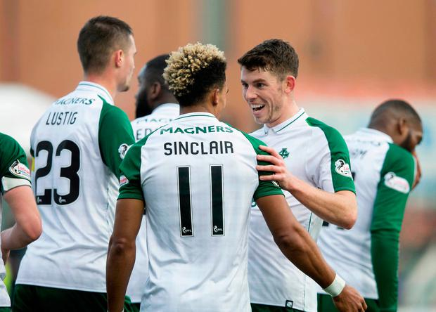 Celtic's Scott Sinclair (back to camera) celebrates scoring his side's second goal of the game with Ryan Christie during the Ladbrokes Scottish Premiership match at Hope CBD Stadium, Hamilton. Saturday November 24, 2018. Jeff Holmes/PA Wire.