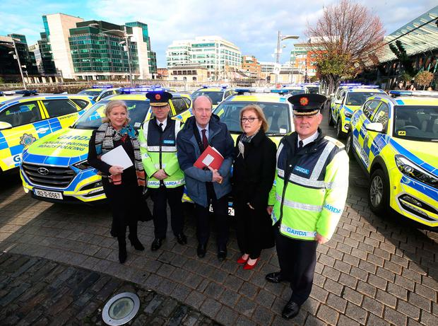 Safety first: (from left) Liz O'Donnell, chair of the RSA; Garda Commissioner Drew Harris; Transport Minister Shane Ross; RSA chief Moyagh Murdock, ; and Assistant Commissioner David Sheehan launch the Christ-mas Road Safety Appeal. Photo: Robbie Reynolds