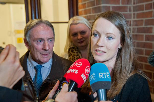 Nicola's father Michael and sister Carly speaking to the media after the verdict yesterday. Photo: Daragh Mc Sweeney/Cork Courts