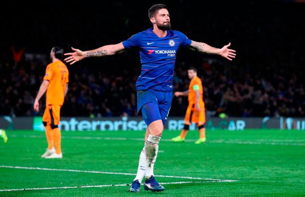Chelsea's Olivier Giroud celebrates scoring his side's second goal of the game during the UEFA Europa League, Group L match at Stamford Bridge, London. Thursday November 29, 2018. Adam Davy/PA Wire